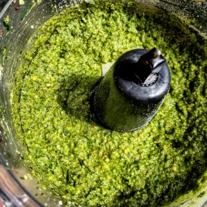 Pesto complete and ready to go into jars.